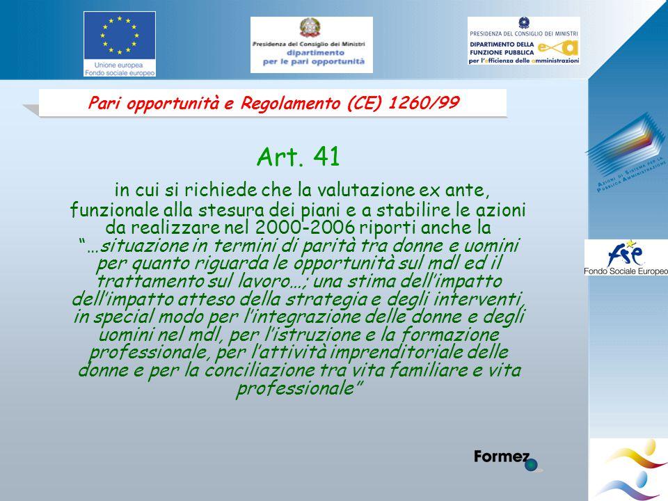 Pari opportunità e Regolamento (CE) 1260/99 Art.