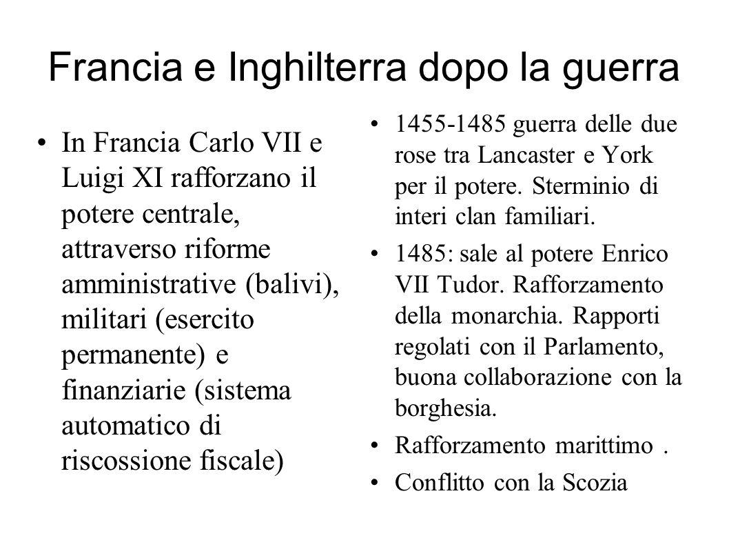 Francia e Inghilterra dopo la guerra In Francia Carlo VII e Luigi XI rafforzano il potere centrale, attraverso riforme amministrative (balivi), milita