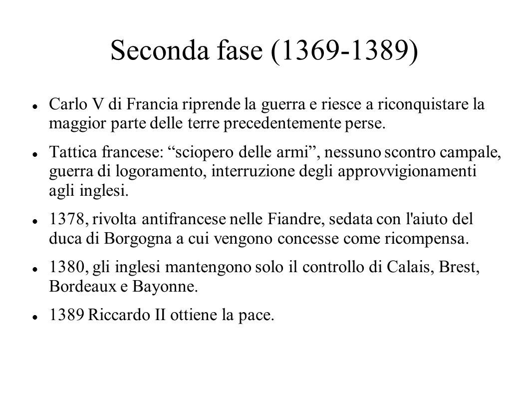 La terza fase 1393, il re francese Carlo VI dà segni evidenti di squilibrio mentale che gli impediscono di governare.