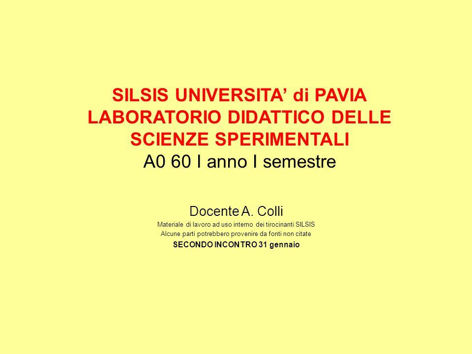 SILSIS UNIVERSITA' di PAVIA LABORATORIO DIDATTICO DELLE SCIENZE SPERIMENTALI A0 60 I anno I semestre Docente A.