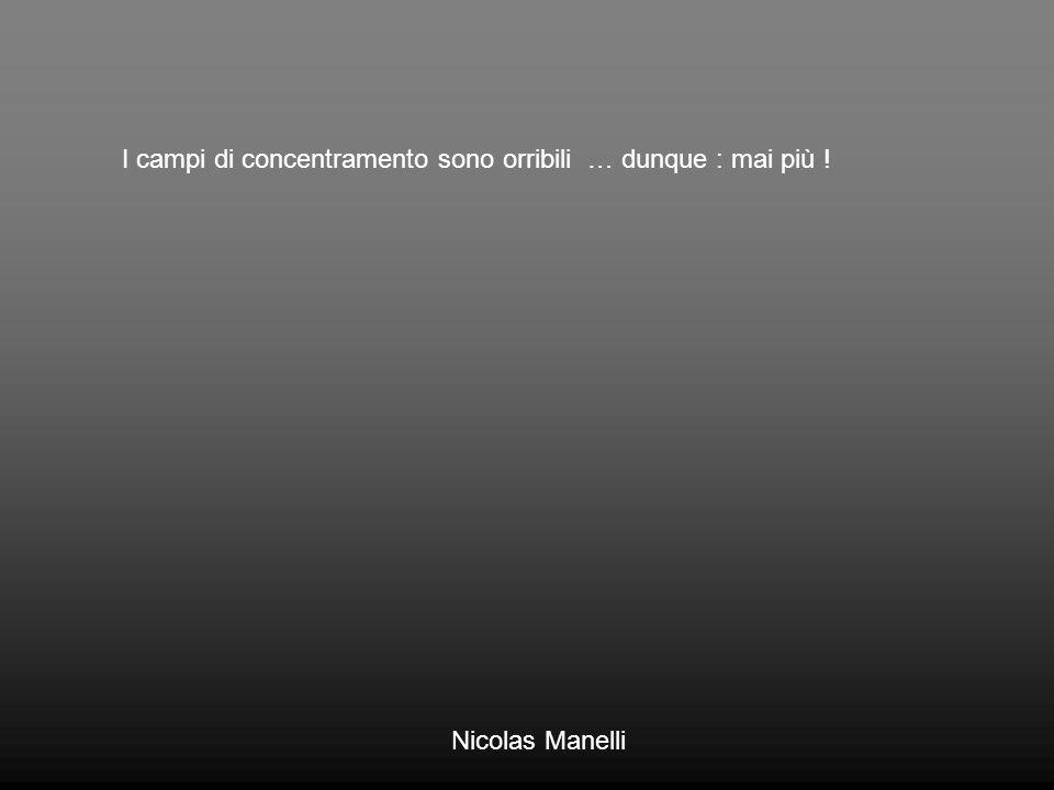 I campi di concentramento sono orribili … dunque : mai più ! Nicolas Manelli