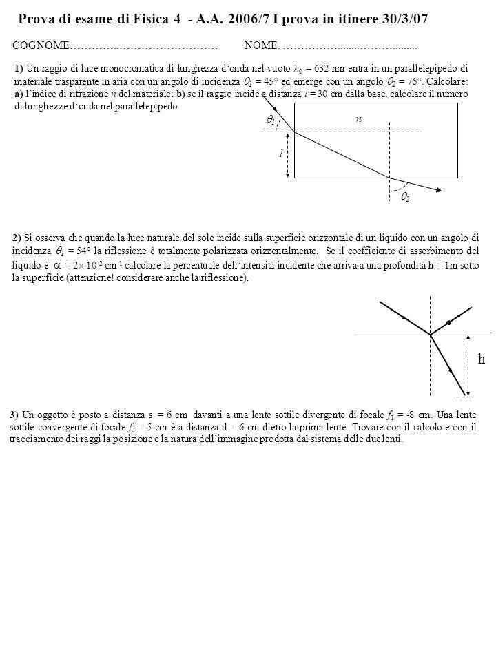 Prova di esame di Fisica 4 - A.A. 2006/7 I prova in itinere 30/3/07 COGNOME…………..……………………… NOME. ……………........………......... 1) Un raggio di luce monocr