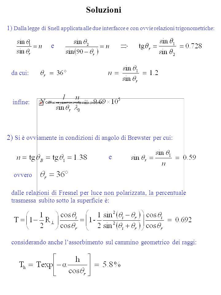 Soluzioni 1) Dalla legge di Snell applicata alle due interfacce e con ovvie relazioni trigonometriche: e da cui: infine: 2) Si è ovviamente in condizi