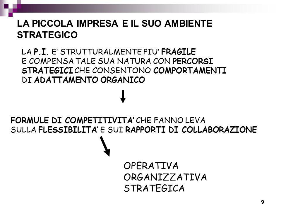 9 LA PICCOLA IMPRESA E IL SUO AMBIENTE STRATEGICO LA P.I.