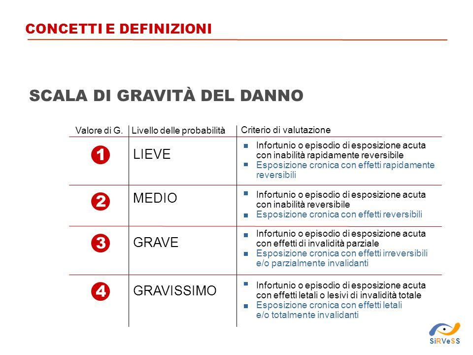 1 3 2 4 Valore di G.Livello delle probabilità Criterio di valutazione LIEVE MEDIO GRAVE GRAVISSIMO Infortunio o episodio di esposizione acuta con inab