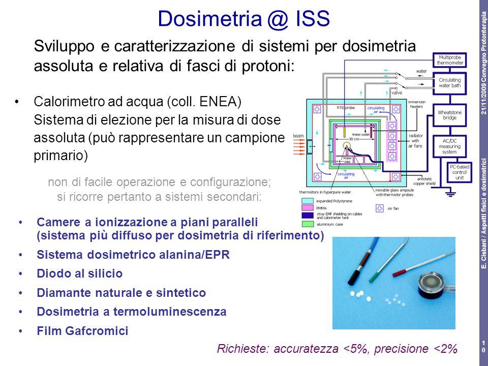 21/11/2009 Convegno Protonterapia E. Cisbani / Aspetti fisici e dosimetrici 10 Dosimetria @ ISS Camere a ionizzazione a piani paralleli (sistema più d