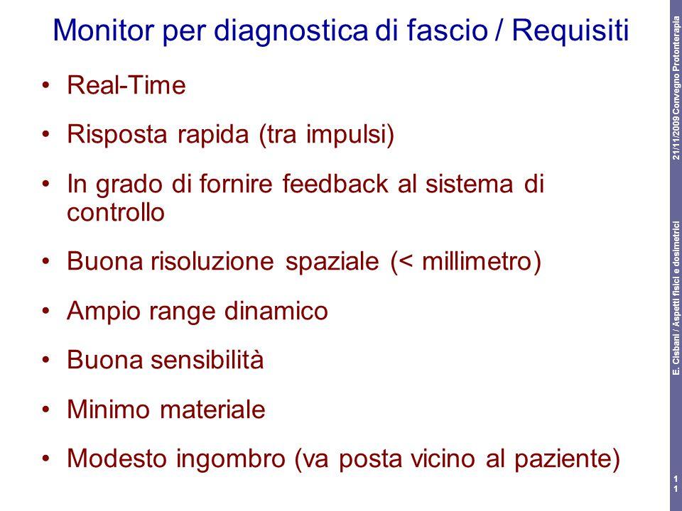 21/11/2009 Convegno Protonterapia E. Cisbani / Aspetti fisici e dosimetrici 11 Monitor per diagnostica di fascio / Requisiti Real-Time Risposta rapida