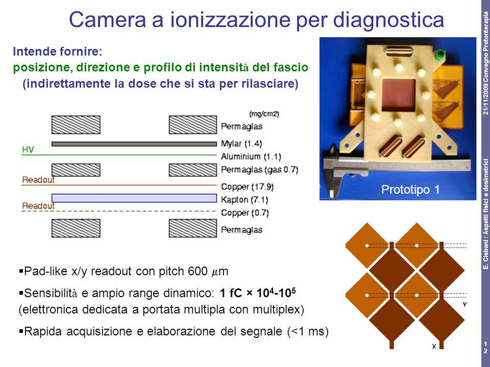 21/11/2009 Convegno Protonterapia E. Cisbani / Aspetti fisici e dosimetrici 12 Camera a ionizzazione per diagnostica Intende fornire: posizione, direz
