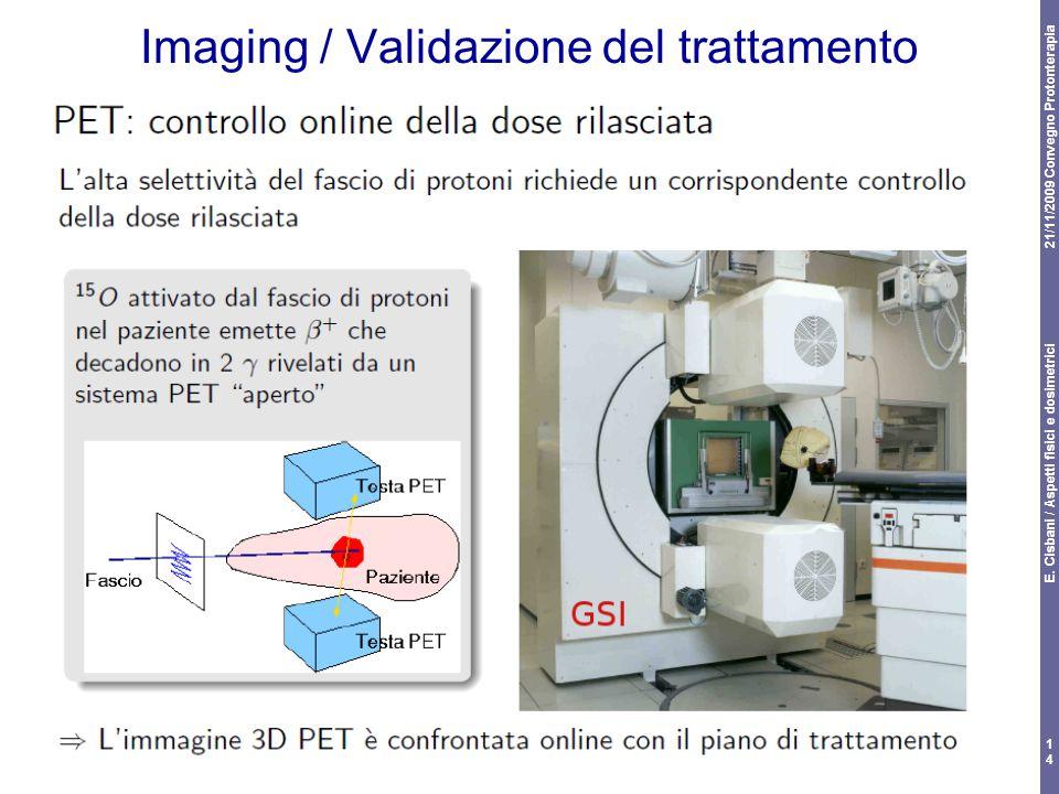 21/11/2009 Convegno Protonterapia E. Cisbani / Aspetti fisici e dosimetrici 14 Imaging / Validazione del trattamento