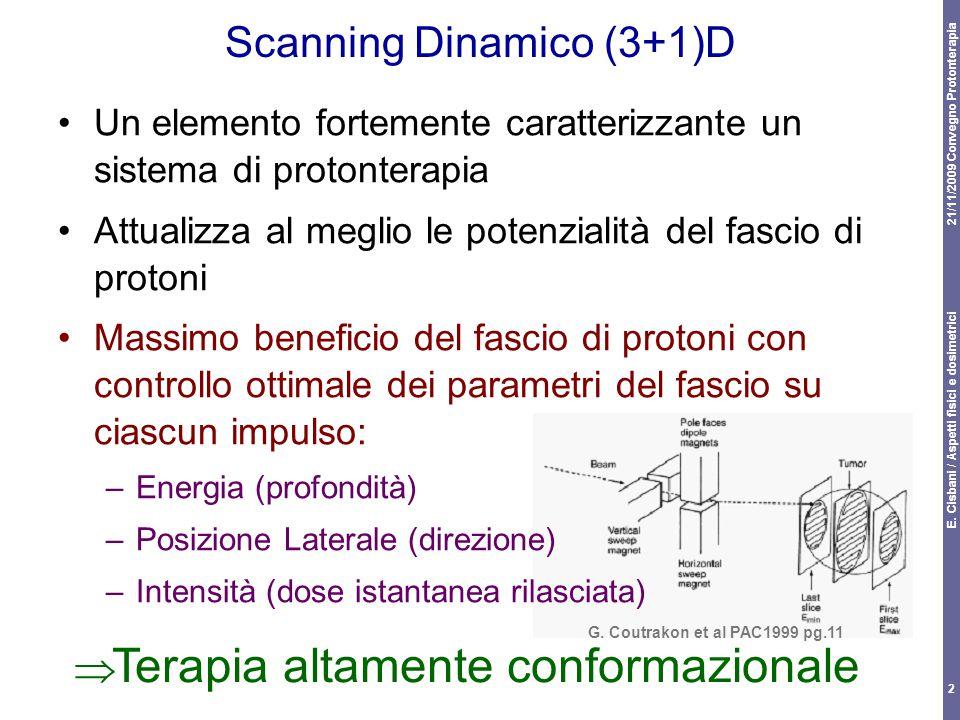 21/11/2009 Convegno Protonterapia E. Cisbani / Aspetti fisici e dosimetrici 2 Scanning Dinamico (3+1)D Un elemento fortemente caratterizzante un siste