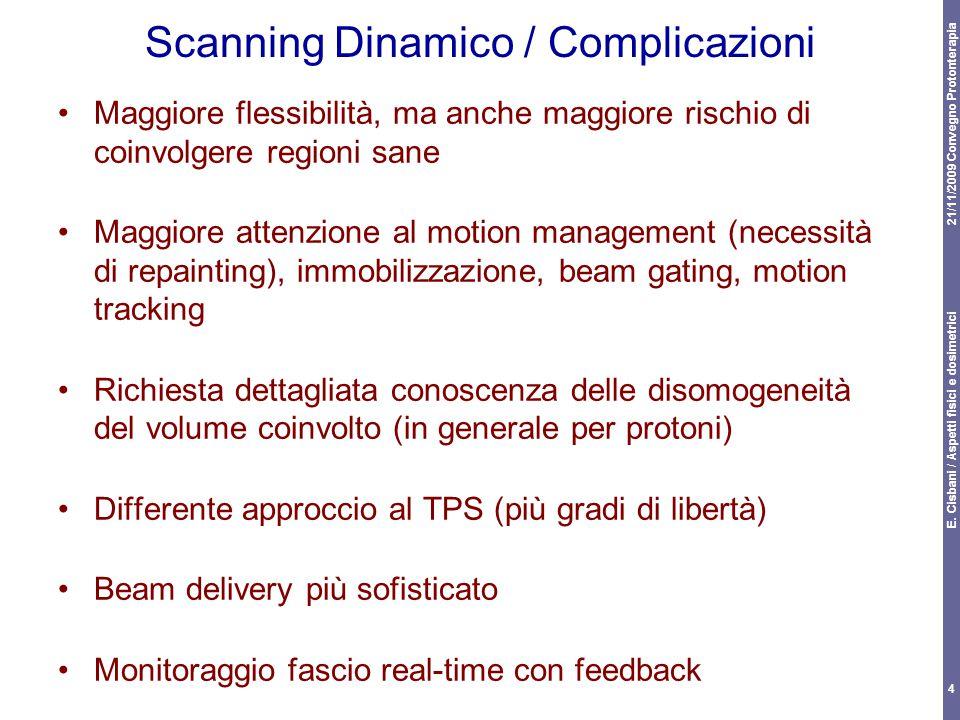 21/11/2009 Convegno Protonterapia E. Cisbani / Aspetti fisici e dosimetrici 4 Scanning Dinamico / Complicazioni Maggiore flessibilità, ma anche maggio