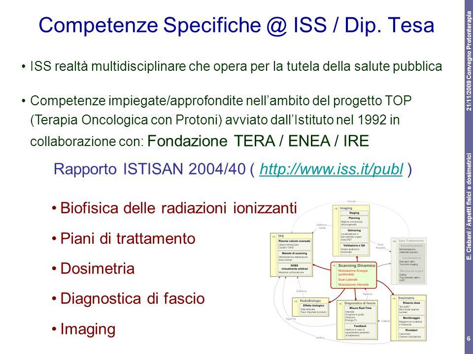 21/11/2009 Convegno Protonterapia E. Cisbani / Aspetti fisici e dosimetrici 6 Competenze Specifiche @ ISS / Dip. Tesa Biofisica delle radiazioni ioniz