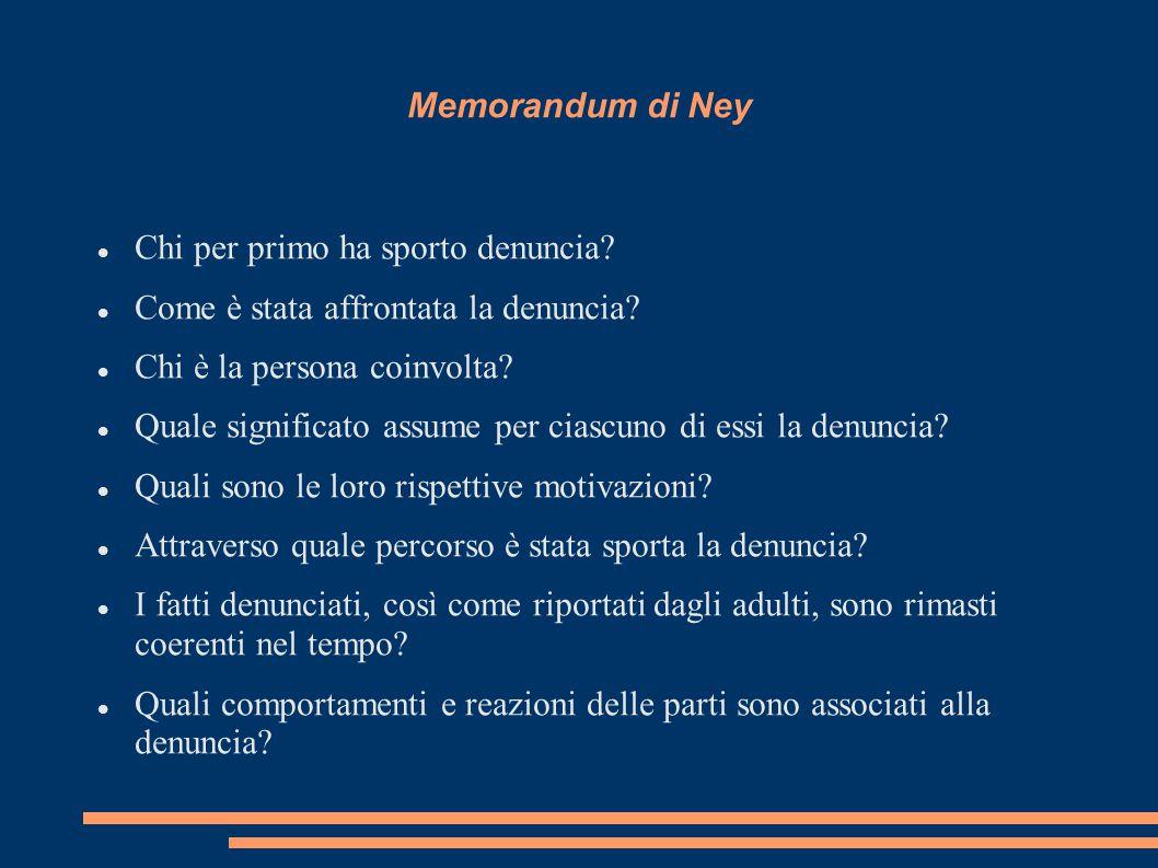 Memorandum di Ney Chi per primo ha sporto denuncia.