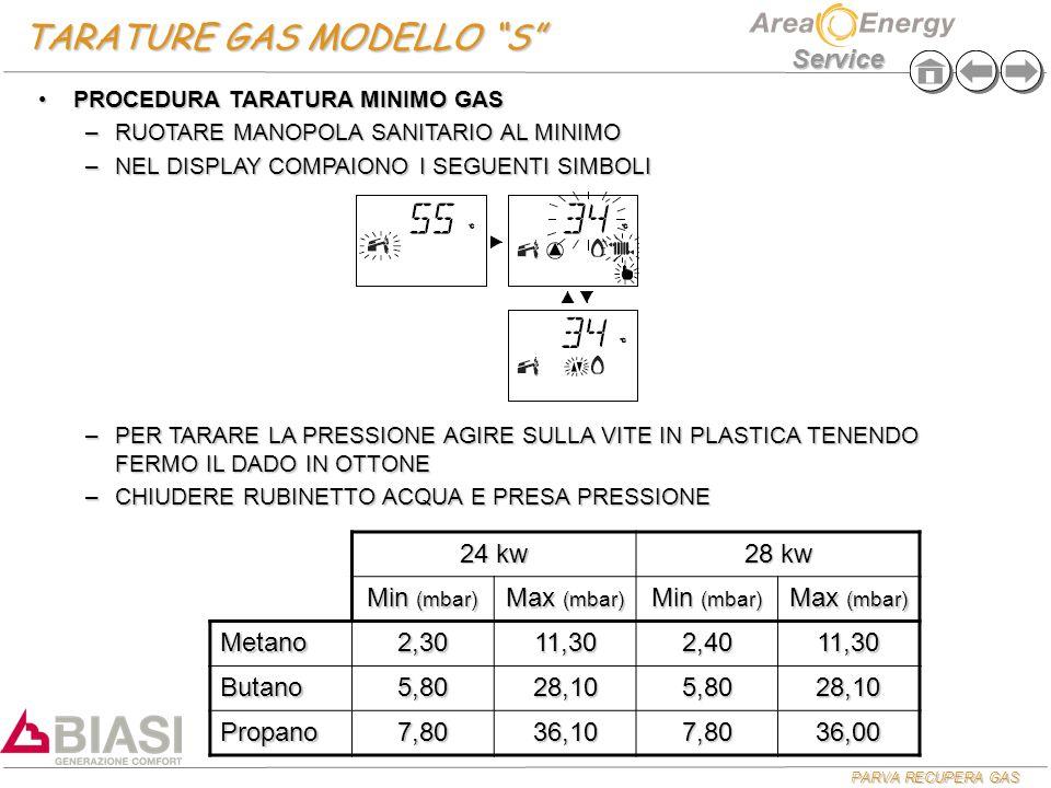 "PARVA RECUPERA GAS Service TARATURE GAS MODELLO ""S"" 24 kw 28 kw Min (mbar) Max (mbar) Min (mbar) Max (mbar) Metano2,3011,302,4011,30 Butano5,8028,105,"