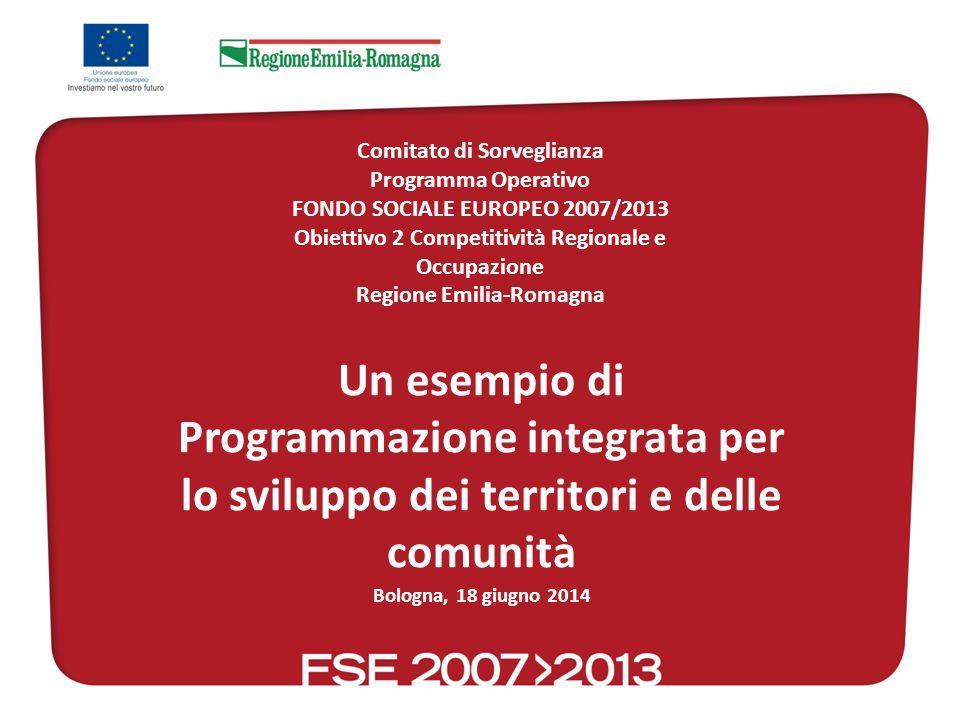 Un esempio di Programmazione integrata per lo sviluppo dei territori e delle comunità Bologna, 18 giugno 2014 Comitato di Sorveglianza Programma Operativo FONDO SOCIALE EUROPEO 2007/2013 Obiettivo 2 Competitività Regionale e Occupazione Regione Emilia-Romagna