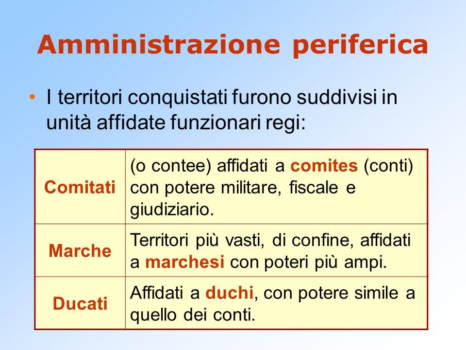 Amministrazione periferica I territori conquistati furono suddivisi in unità affidate funzionari regi: Comitati (o contee) affidati a comites (conti)
