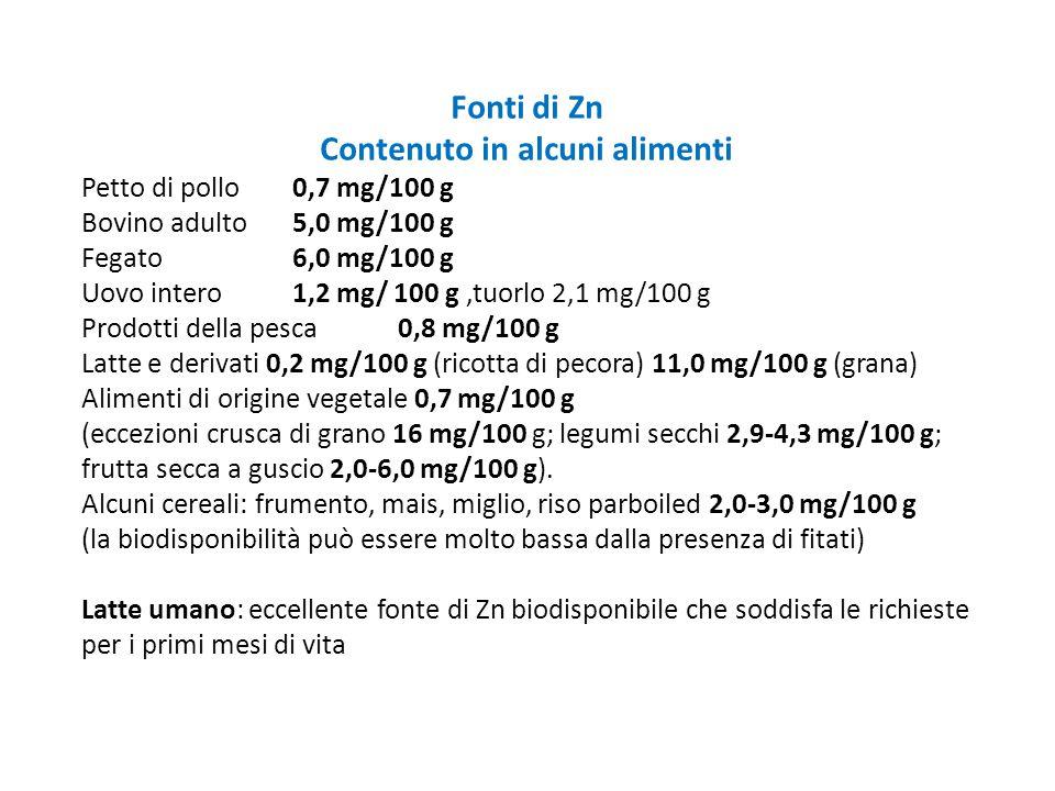 Fonti di Zn Contenuto in alcuni alimenti Petto di pollo 0,7 mg/100 g Bovino adulto 5,0 mg/100 g Fegato 6,0 mg/100 g Uovo intero 1,2 mg/ 100 g,tuorlo 2
