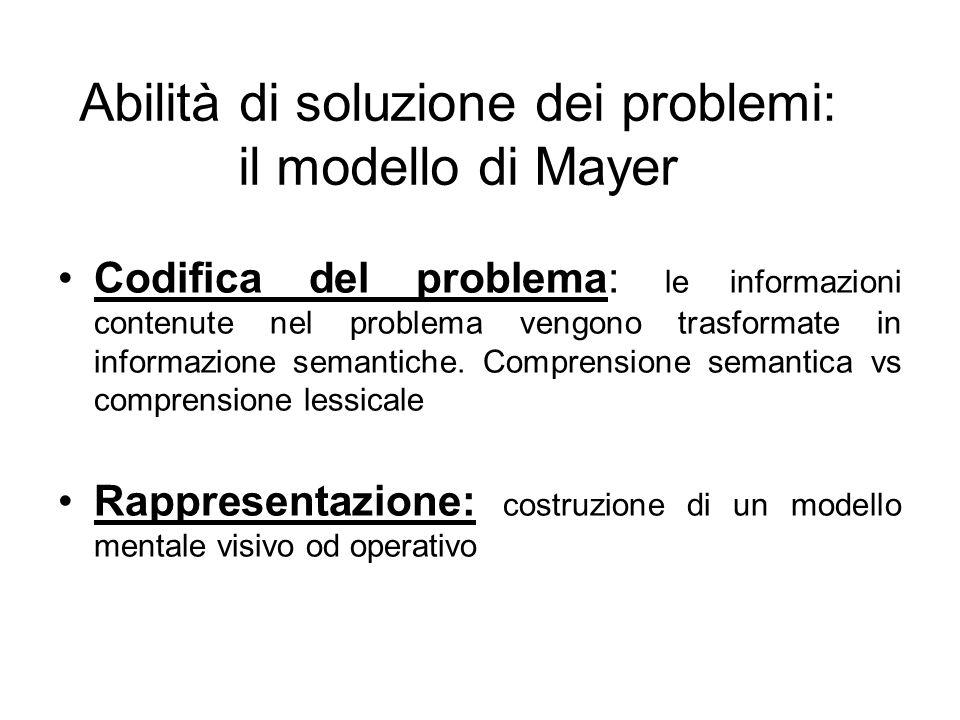 Abilità di soluzione dei problemi: il modello di Mayer Codifica del problema: le informazioni contenute nel problema vengono trasformate in informazione semantiche.