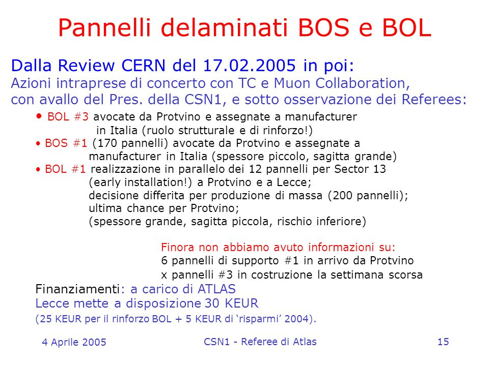 4 Aprile 2005 CSN1 - Referee di Atlas15 Pannelli delaminati BOS e BOL Dalla Review CERN del 17.02.2005 in poi: Azioni intraprese di concerto con TC e Muon Collaboration, con avallo del Pres.