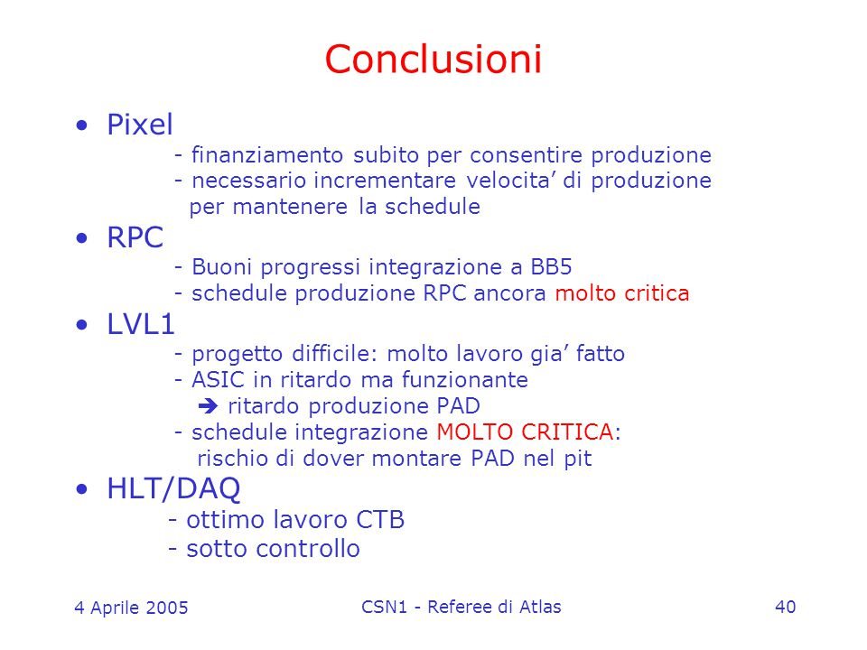 4 Aprile 2005 CSN1 - Referee di Atlas40 Conclusioni Pixel - finanziamento subito per consentire produzione - necessario incrementare velocita' di produzione per mantenere la schedule RPC - Buoni progressi integrazione a BB5 - schedule produzione RPC ancora molto critica LVL1 - progetto difficile: molto lavoro gia' fatto - ASIC in ritardo ma funzionante  ritardo produzione PAD - schedule integrazione MOLTO CRITICA: rischio di dover montare PAD nel pit HLT/DAQ - ottimo lavoro CTB - sotto controllo