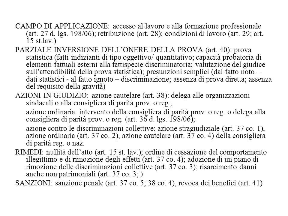CAMPO DI APPLICAZIONE: accesso al lavoro e alla formazione professionale (art. 27 d. lgs. 198/06); retribuzione (art. 28); condizioni di lavoro (art.