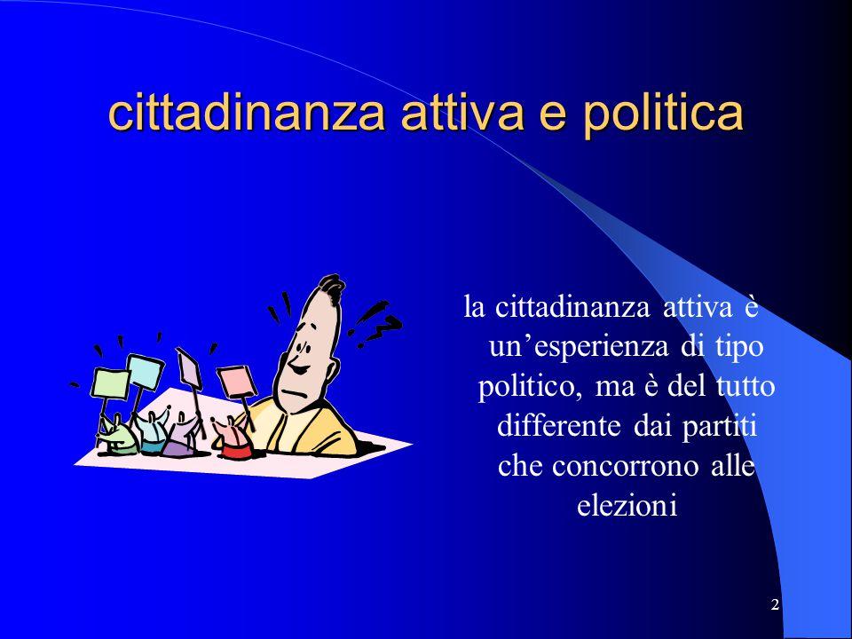 Terzo modulo: la cittadinanza attiva e la politica