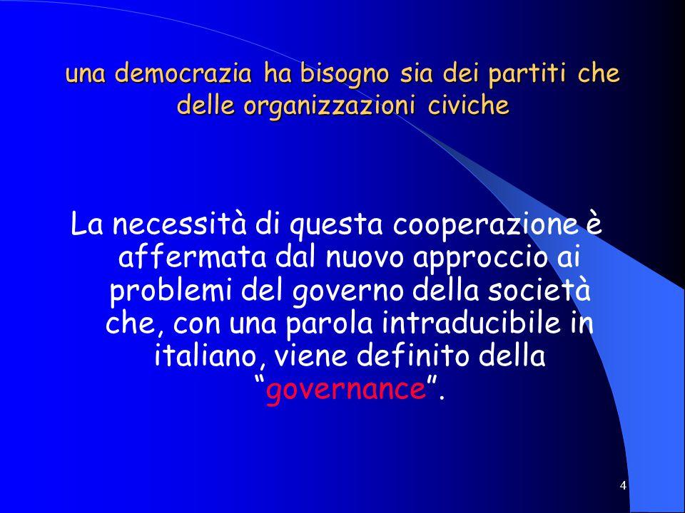 3 i partiti si occupano della direzione dello stato la cittadinanza attiva contribuisce al governo della società restandovi in mezzo non c'è una corri