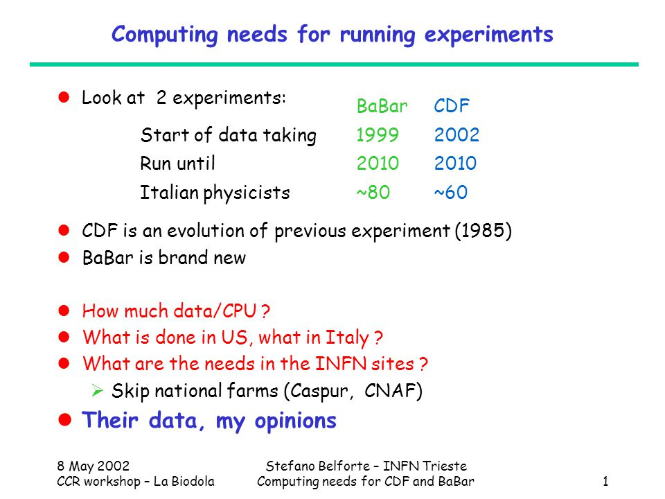 8 May 2002 CCR workshop – La Biodola Stefano Belforte – INFN Trieste Computing needs for CDF and BaBar1 Computing needs for running experiments Look at 2 experiments: CDF is an evolution of previous experiment (1985) BaBar is brand new How much data/CPU .