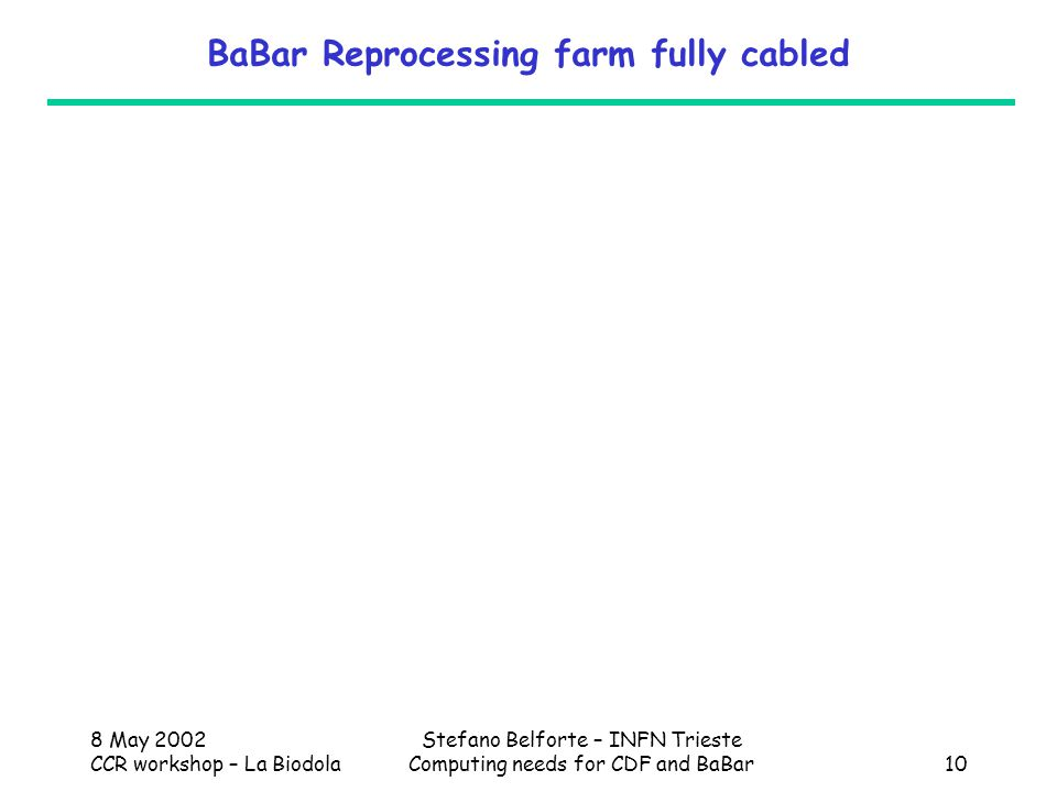 8 May 2002 CCR workshop – La Biodola Stefano Belforte – INFN Trieste Computing needs for CDF and BaBar10 BaBar Reprocessing farm fully cabled