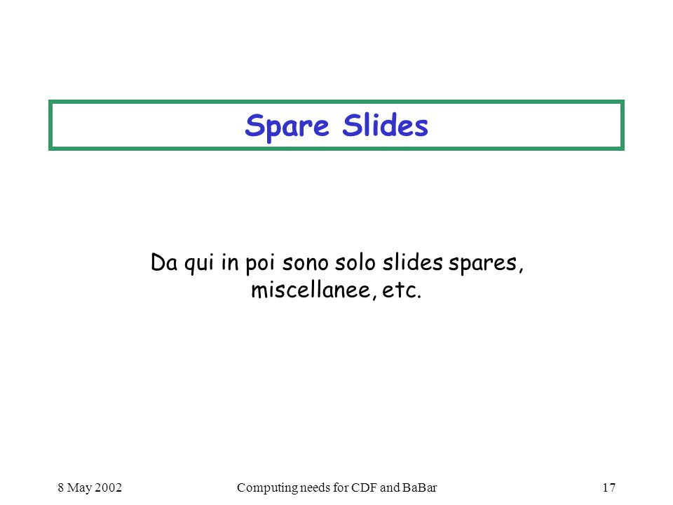 8 May 2002Computing needs for CDF and BaBar17 Spare Slides Da qui in poi sono solo slides spares, miscellanee, etc.