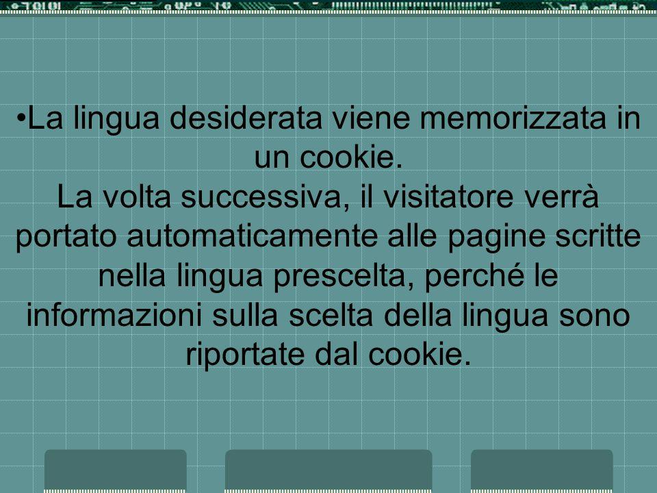 La lingua desiderata viene memorizzata in un cookie.
