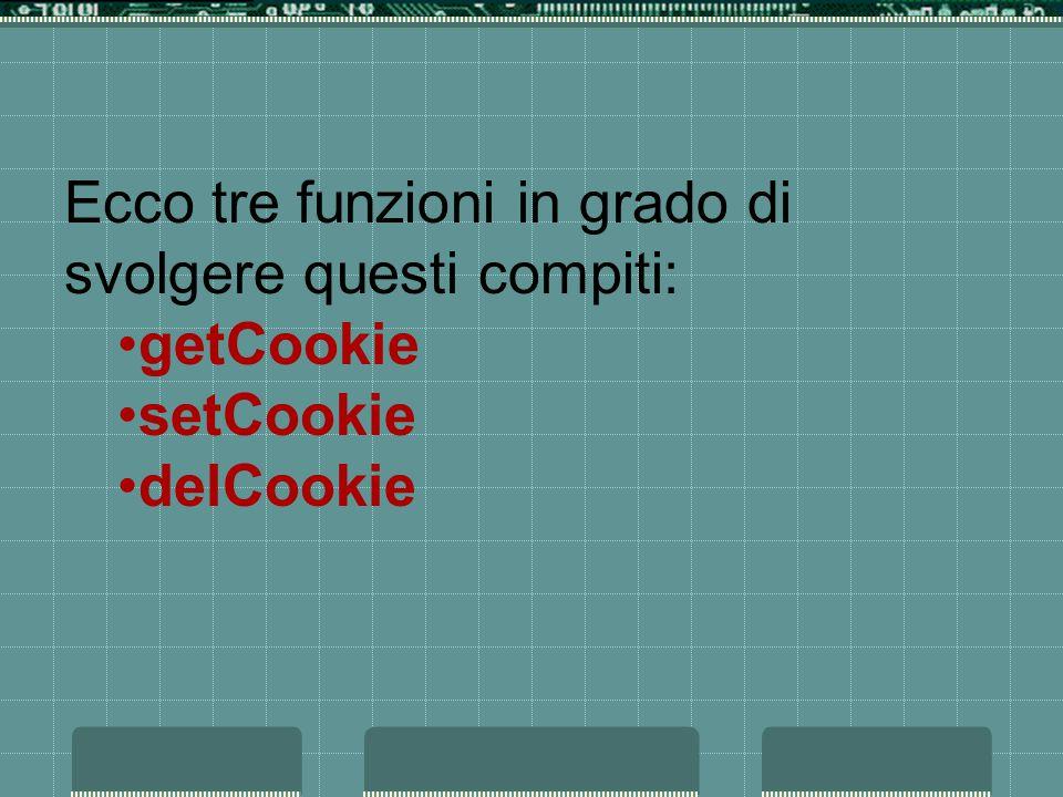 Ecco tre funzioni in grado di svolgere questi compiti: getCookie setCookie delCookie