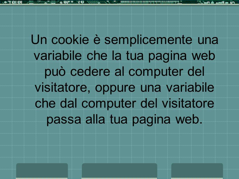 L idea di fondo è che le volte successive che il visitatore approda alla tua pagina, il valore del cookie potrà essere letto dalla tua pagina, e quindi usato per diversi scopi.