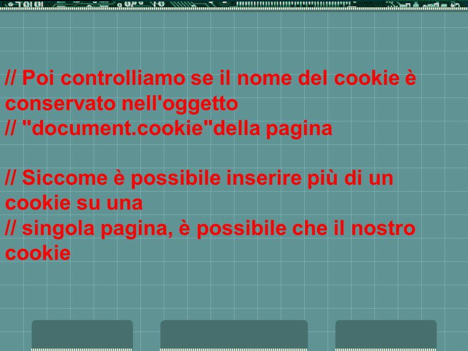 // Poi controlliamo se il nome del cookie è conservato nell oggetto // document.cookie della pagina // Siccome è possibile inserire più di un cookie su una // singola pagina, è possibile che il nostro cookie