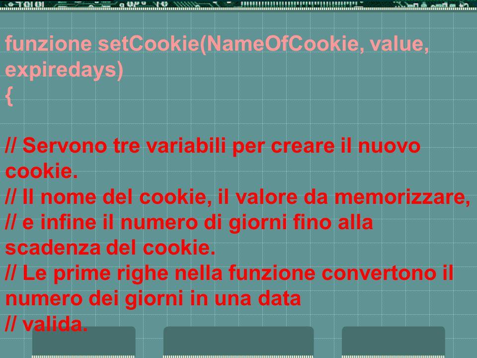 funzione setCookie(NameOfCookie, value, expiredays) { // Servono tre variabili per creare il nuovo cookie.