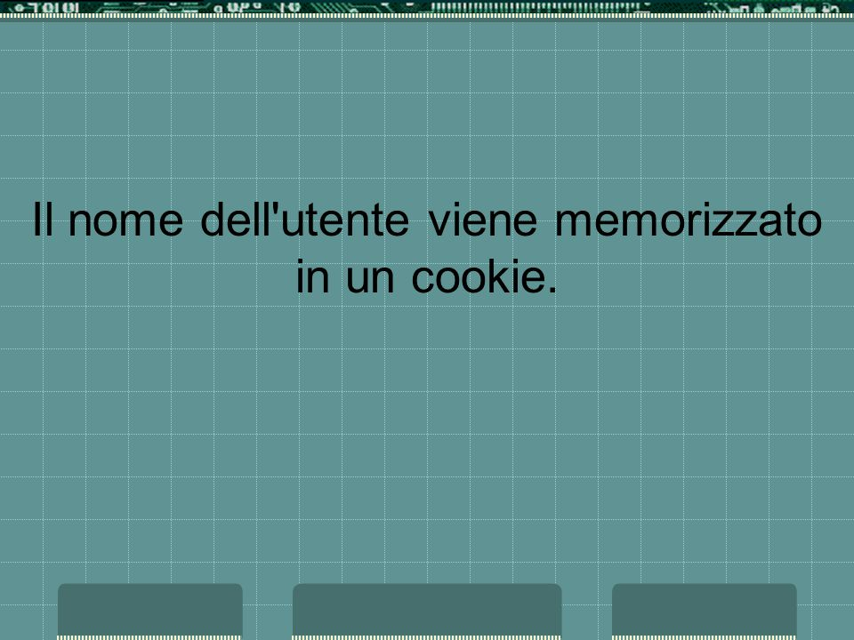 Il nome dell utente viene memorizzato in un cookie.