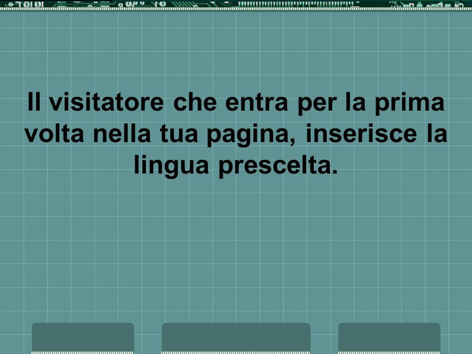 Il visitatore che entra per la prima volta nella tua pagina, inserisce la lingua prescelta.