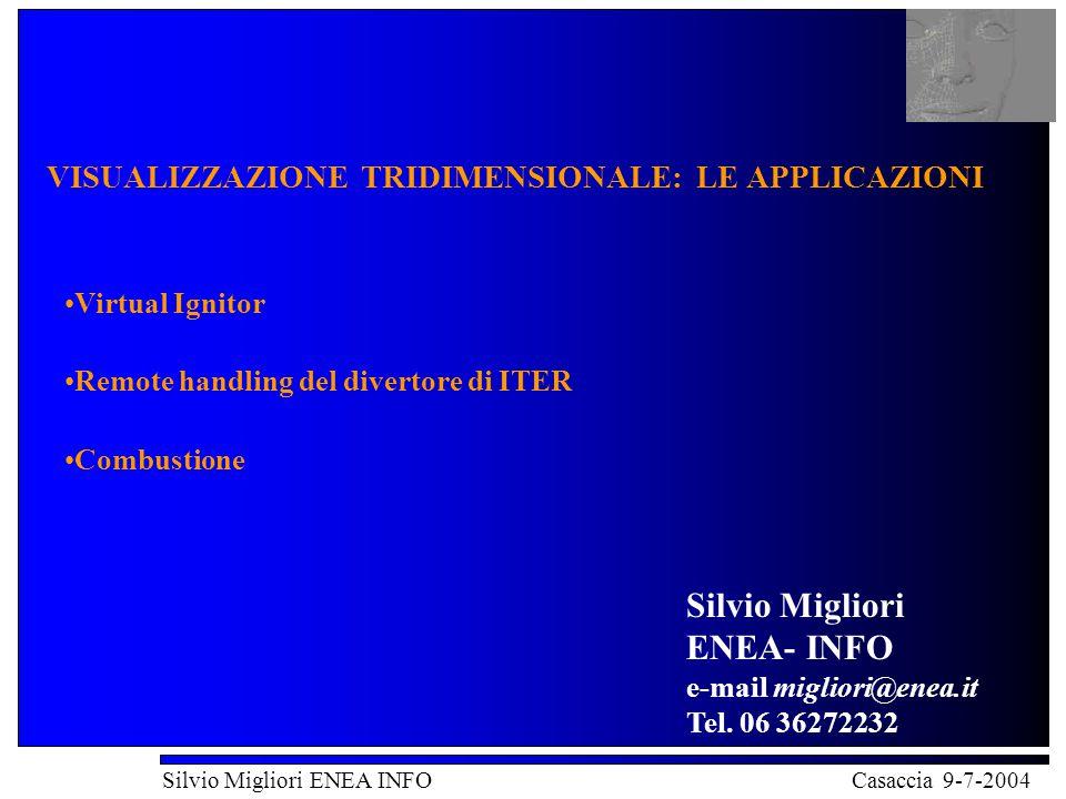 VISUALIZZAZIONE TRIDIMENSIONALE: LE APPLICAZIONI Silvio Migliori ENEA INFO Casaccia 9-7-2004 VISUALIZZAZIONE TRIDIMENSIONALE: LE APPLICAZIONI Virtual Ignitor Remote handling del divertore di ITER Combustione Silvio Migliori ENEA- INFO e-mail migliori@enea.it Tel.
