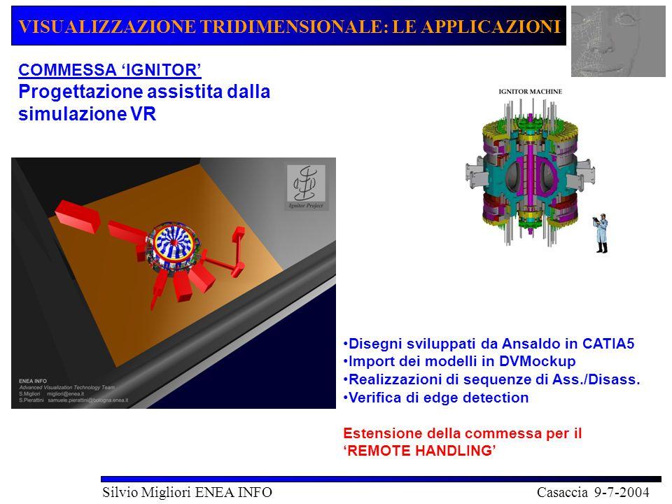 VISUALIZZAZIONE TRIDIMENSIONALE: LE APPLICAZIONI Silvio Migliori ENEA INFO Casaccia 9-7-2004 TCP/IP DRP - Remote Handling Operations VR