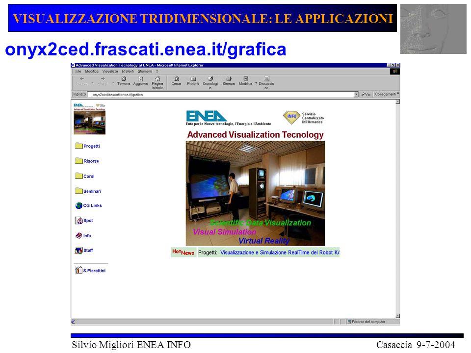 VISUALIZZAZIONE TRIDIMENSIONALE: LE APPLICAZIONI Silvio Migliori ENEA INFO Casaccia 9-7-2004 onyx2ced.frascati.enea.it/grafica