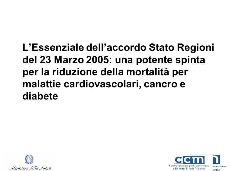 L'Essenziale dell'accordo Stato Regioni del 23 Marzo 2005: una potente spinta per la riduzione della mortalità per malattie cardiovascolari, cancro e