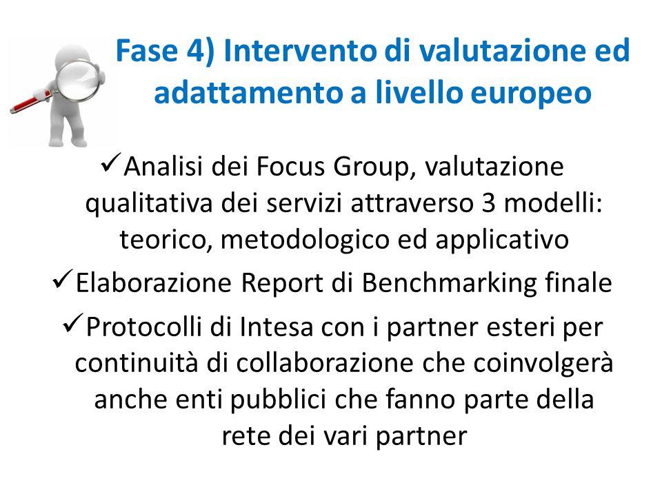 Analisi dei Focus Group, valutazione qualitativa dei servizi attraverso 3 modelli: teorico, metodologico ed applicativo Elaborazione Report di Benchmarking finale Protocolli di Intesa con i partner esteri per continuità di collaborazione che coinvolgerà anche enti pubblici che fanno parte della rete dei vari partner Fase 4) Intervento di valutazione ed adattamento a livello europeo