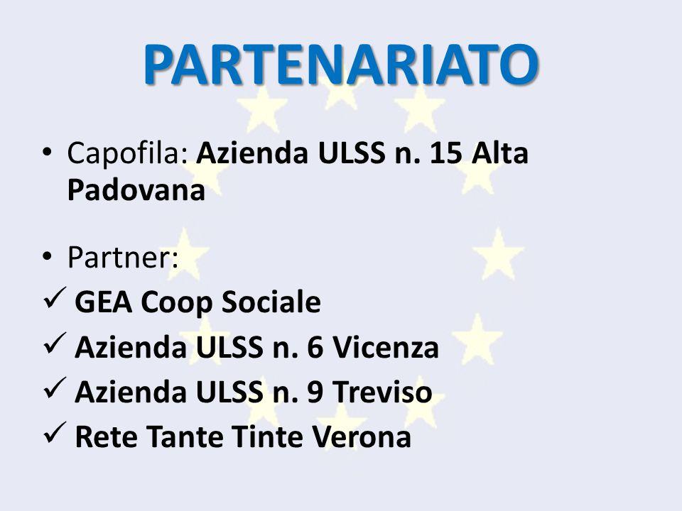 PARTENARIATO Capofila: Azienda ULSS n. 15 Alta Padovana Partner: GEA Coop Sociale Azienda ULSS n.