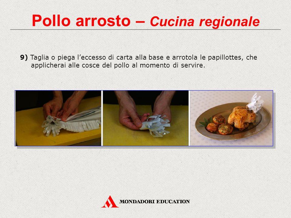 9) Taglia o piega l'eccesso di carta alla base e arrotola le papillottes, che applicherai alle cosce del pollo al momento di servire.