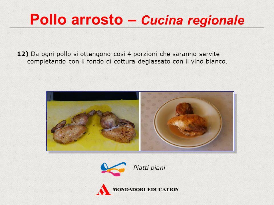 12) Da ogni pollo si ottengono così 4 porzioni che saranno servite completando con il fondo di cottura deglassato con il vino bianco.