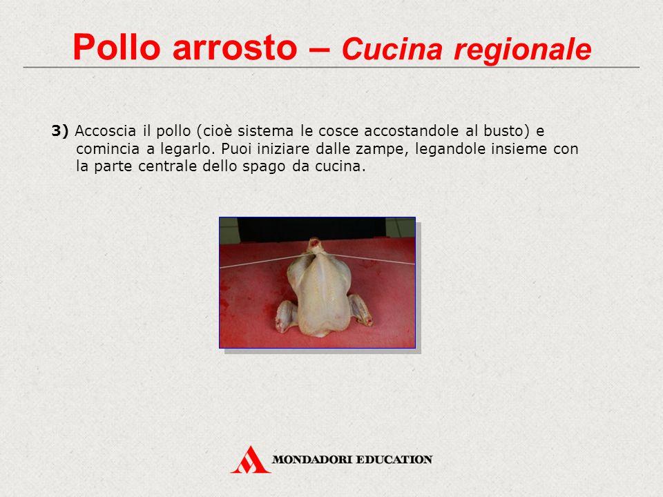 3) Accoscia il pollo (cioè sistema le cosce accostandole al busto) e comincia a legarlo.