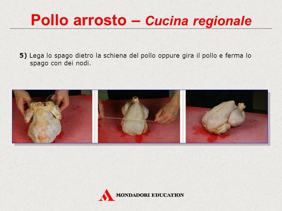 5) Lega lo spago dietro la schiena del pollo oppure gira il pollo e ferma lo spago con dei nodi.