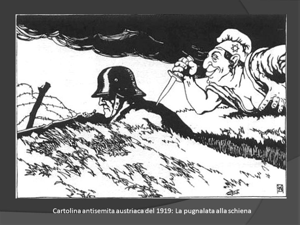 Cartolina antisemita austriaca del 1919: La pugnalata alla schiena