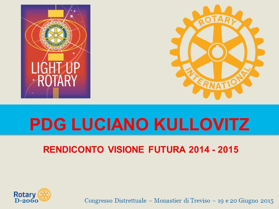 PDG LUCIANO KULLOVITZ RENDICONTO VISIONE FUTURA 2014 - 2015 D-2060Congresso Distrettuale – Monastier di Treviso – 19 e 20 Giugno 2015