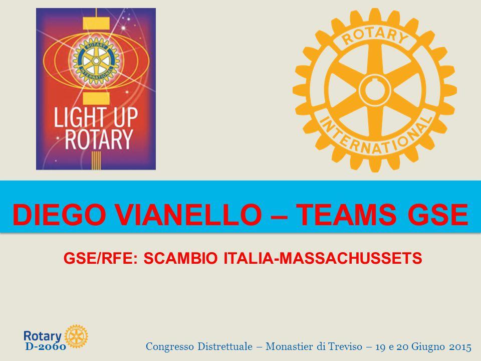 DIEGO VIANELLO – TEAMS GSE GSE/RFE: SCAMBIO ITALIA-MASSACHUSSETS D-2060Congresso Distrettuale – Monastier di Treviso – 19 e 20 Giugno 2015